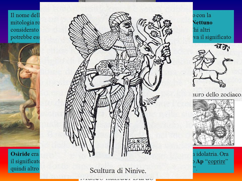 Il nome della terza primitiva triade d'Egitto era Kous che ci porta a contatto con la mitologia romana e col nome del dio latino Consus identificato anche con Nettuno considerato il dio dei consigli nascosti o colui che nasconde i segreti . Chi altri potrebbe essere se non Saturno il dio dei misteri il cui nome a Roma aveva il significato di nascosto
