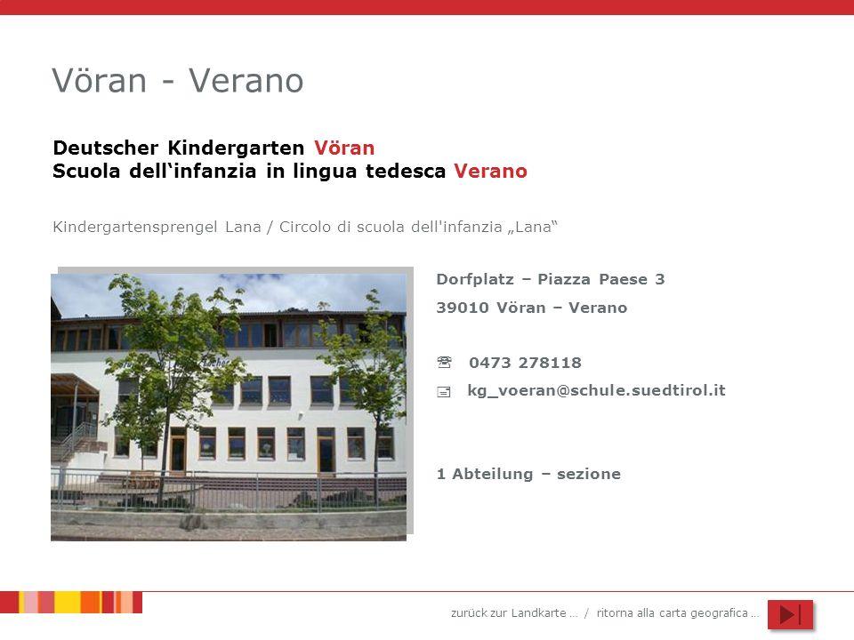 Vöran - Verano Deutscher Kindergarten Vöran Scuola dell'infanzia in lingua tedesca Verano.