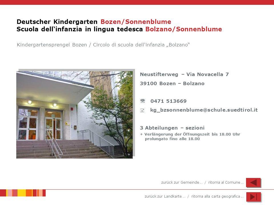 Deutscher Kindergarten Bozen/Sonnenblume Scuola dell'infanzia in lingua tedesca Bolzano/Sonnenblume