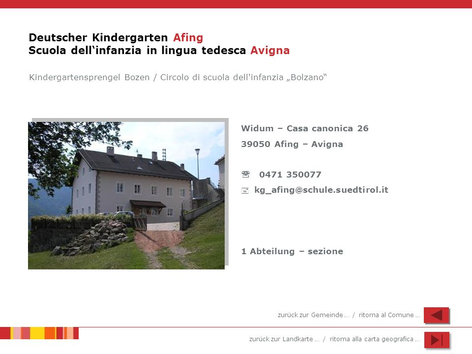 Deutscher Kindergarten Afing Scuola dell'infanzia in lingua tedesca Avigna