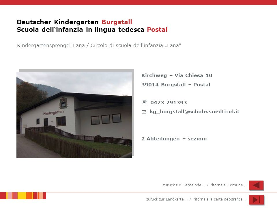 Deutscher Kindergarten Burgstall Scuola dell'infanzia in lingua tedesca Postal