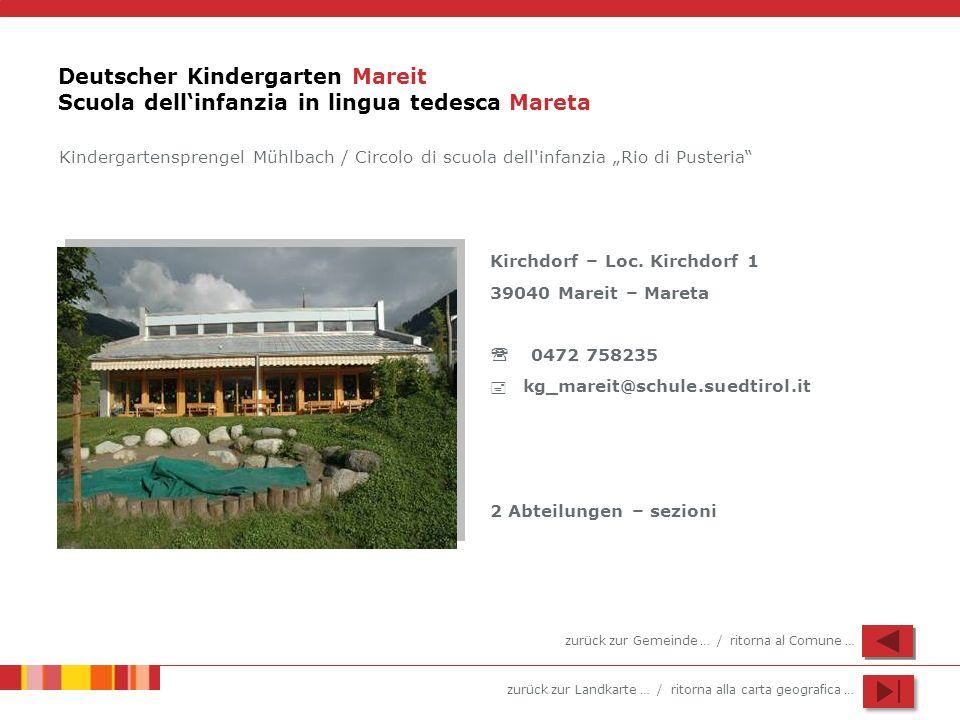 Deutscher Kindergarten Mareit Scuola dell'infanzia in lingua tedesca Mareta