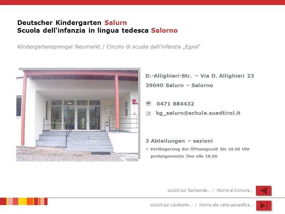 Deutscher Kindergarten Salurn Scuola dell'infanzia in lingua tedesca Salorno