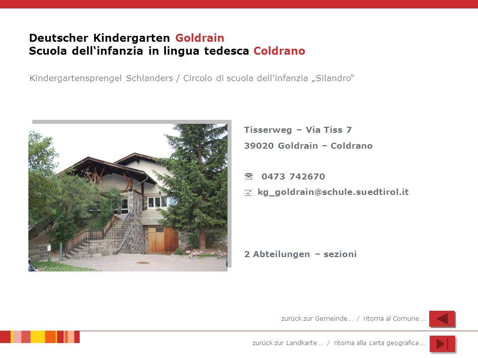 Deutscher Kindergarten Goldrain Scuola dell'infanzia in lingua tedesca Coldrano