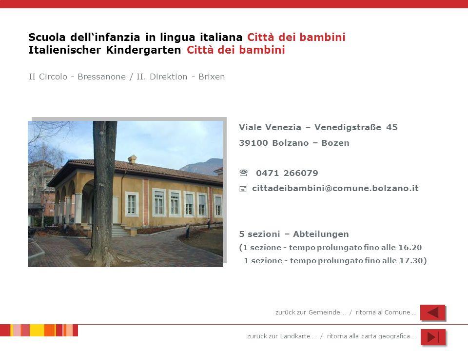 Scuola dell'infanzia in lingua italiana Città dei bambini Italienischer Kindergarten Città dei bambini