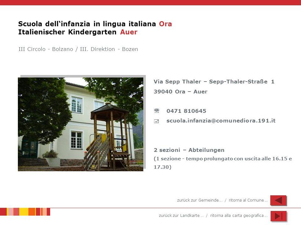 Scuola dell'infanzia in lingua italiana Ora Italienischer Kindergarten Auer