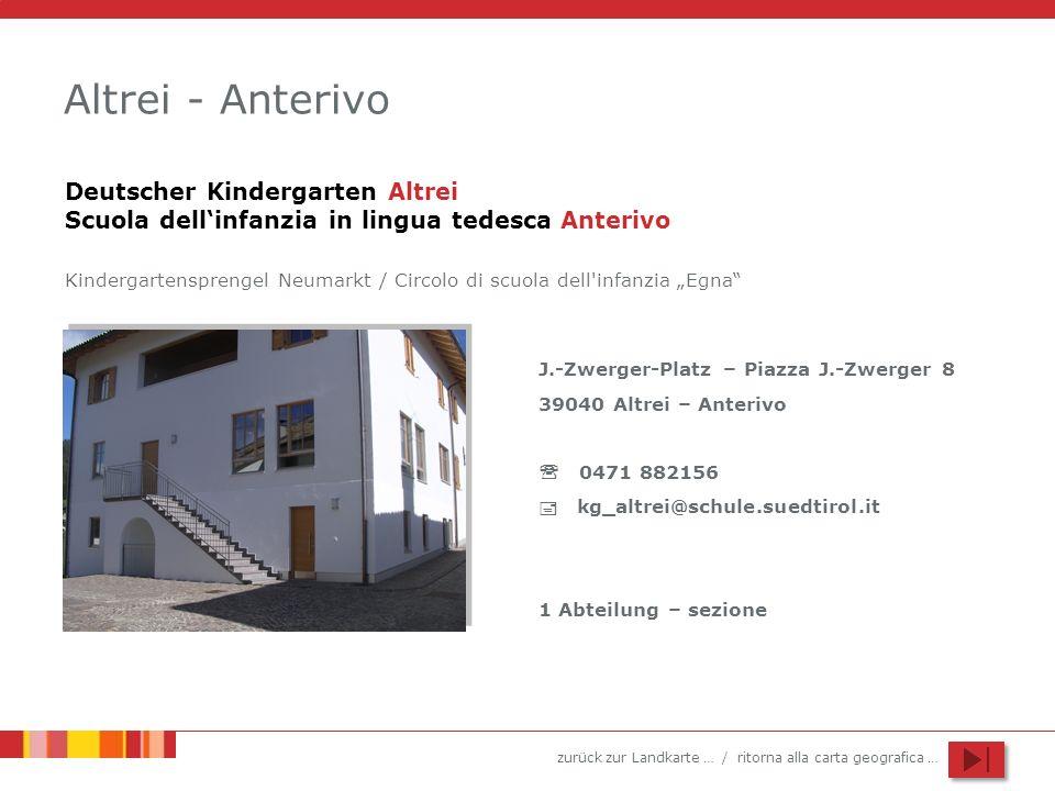 Altrei - Anterivo Deutscher Kindergarten Altrei Scuola dell'infanzia in lingua tedesca Anterivo.