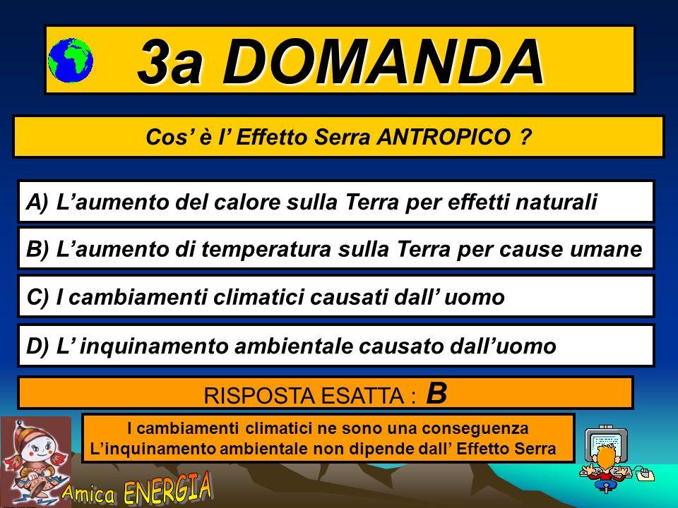 3a DOMANDA Cos' è l' Effetto Serra ANTROPICO