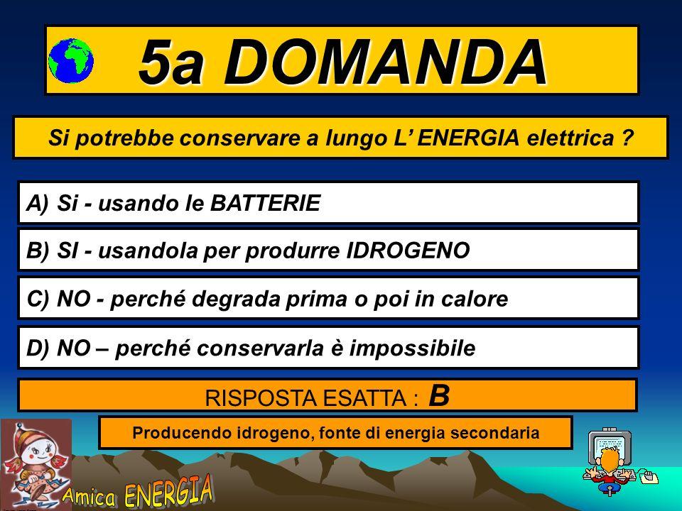 5a DOMANDA Si potrebbe conservare a lungo L' ENERGIA elettrica