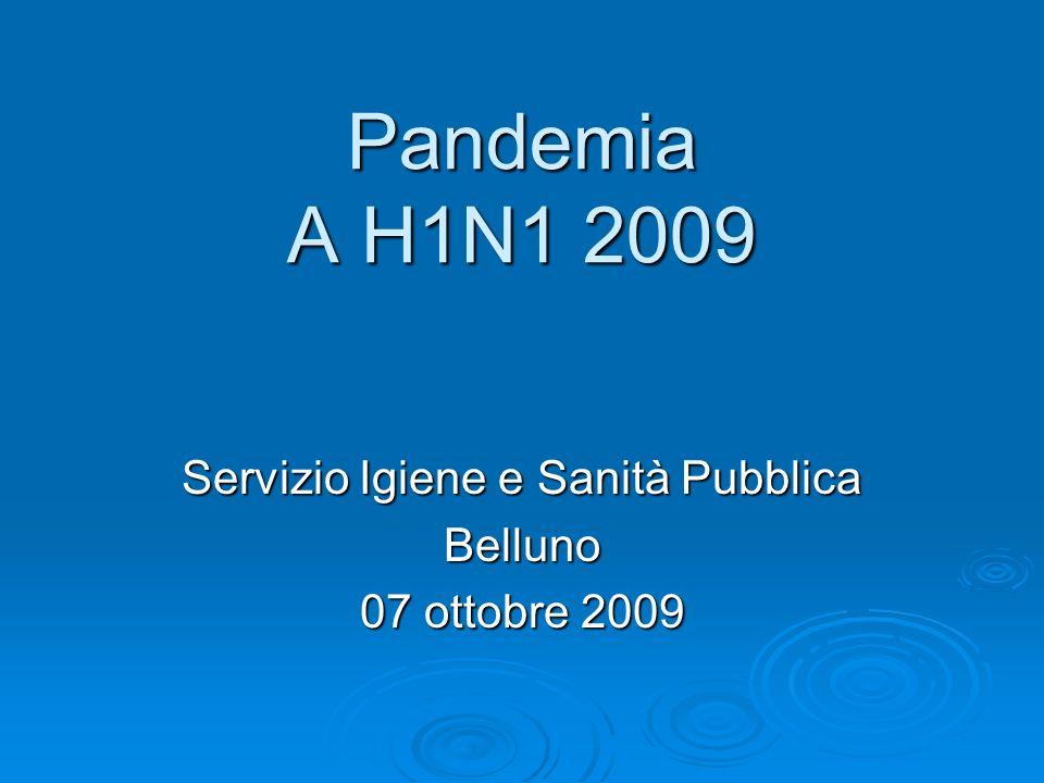 Servizio Igiene e Sanità Pubblica Belluno 07 ottobre 2009