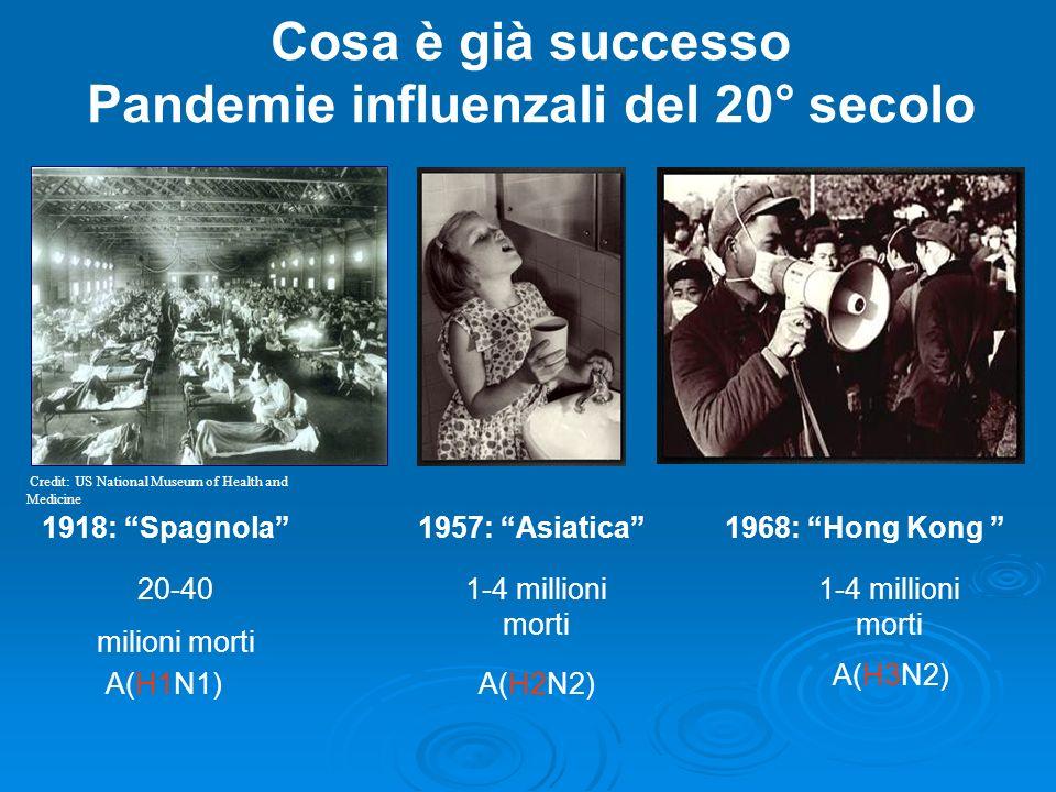Cosa è già successo Pandemie influenzali del 20° secolo