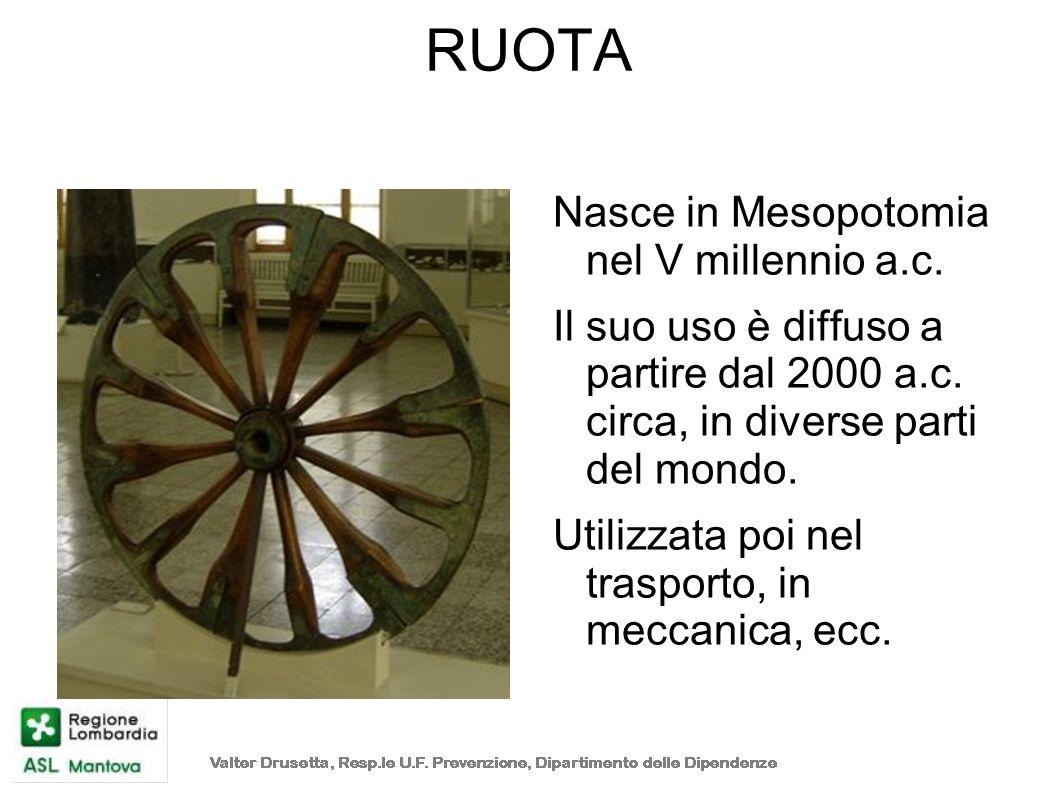 RUOTA Nasce in Mesopotomia nel V millennio a.c.