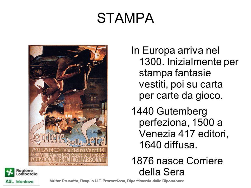 STAMPA In Europa arriva nel 1300. Inizialmente per stampa fantasie vestiti, poi su carta per carte da gioco.