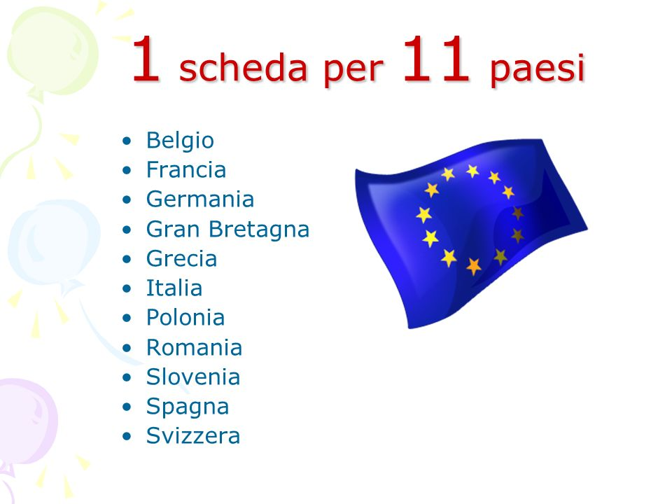 1 scheda per 11 paesi Belgio Francia Germania Gran Bretagna Grecia