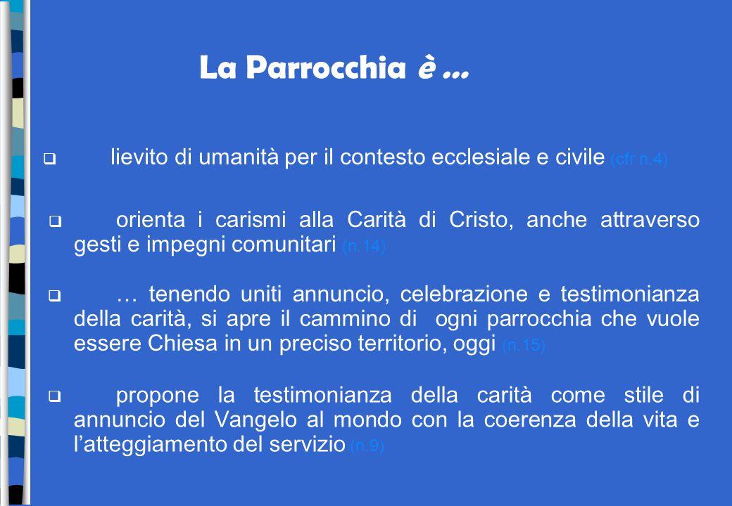 La Parrocchia è … lievito di umanità per il contesto ecclesiale e civile (cfr n.4)
