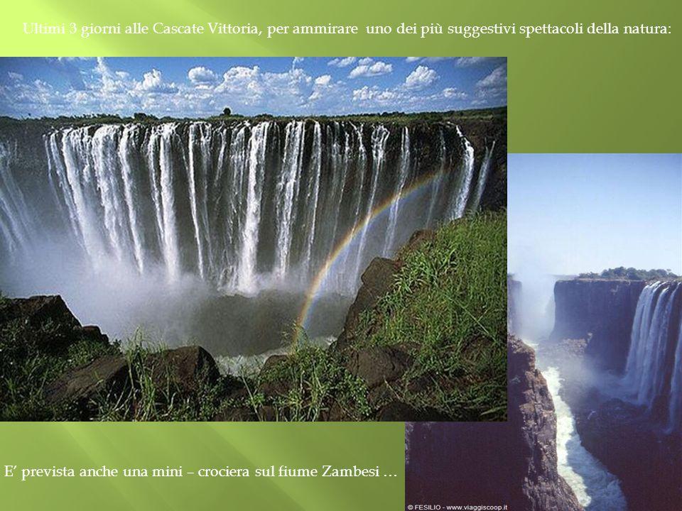E' prevista anche una mini – crociera sul fiume Zambesi …