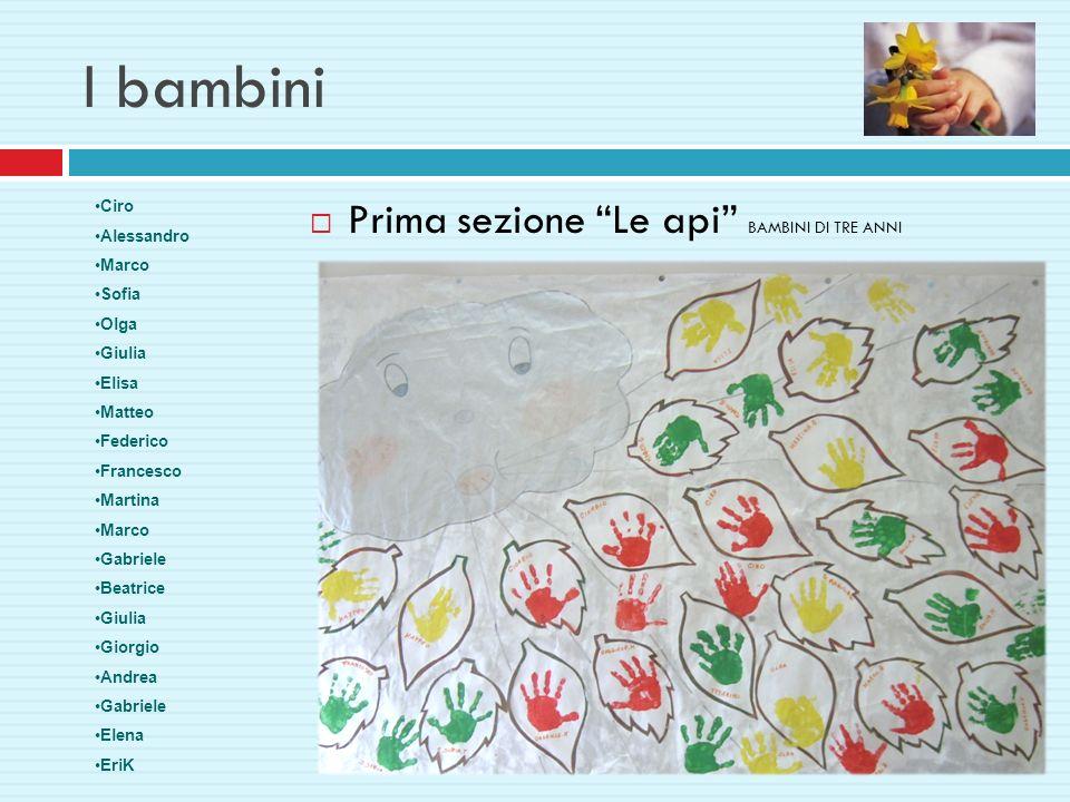 I bambini Prima sezione Le api BAMBINI DI TRE ANNI Ciro Alessandro