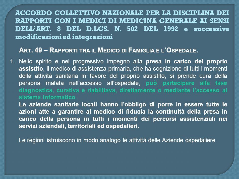 ART. 49 – RAPPORTI TRA IL MEDICO DI FAMIGLIA E L'OSPEDALE.