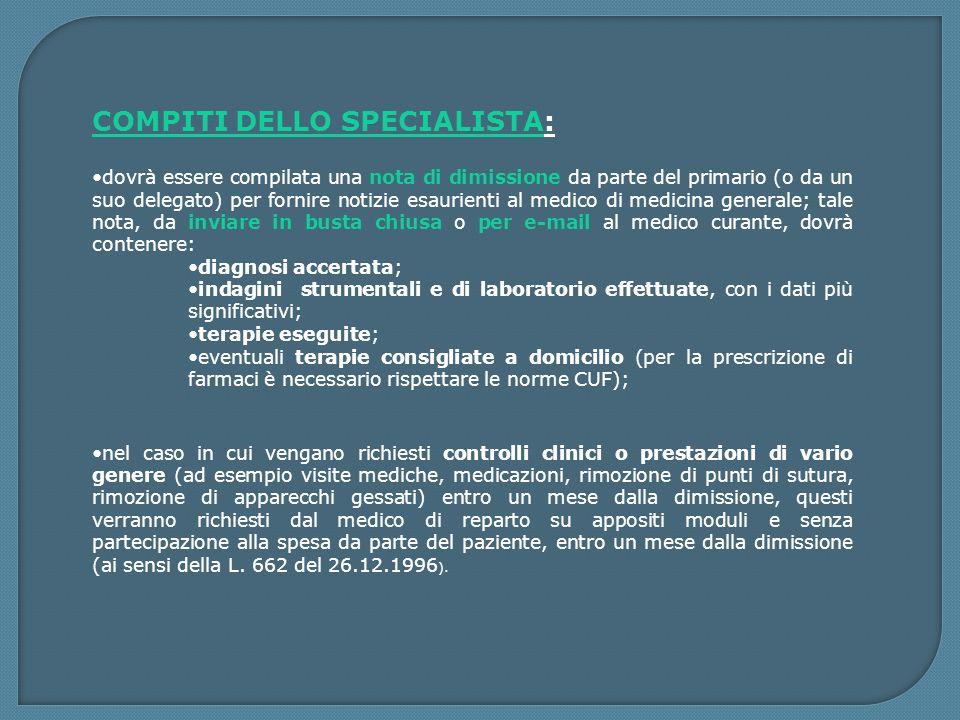 COMPITI DELLO SPECIALISTA: