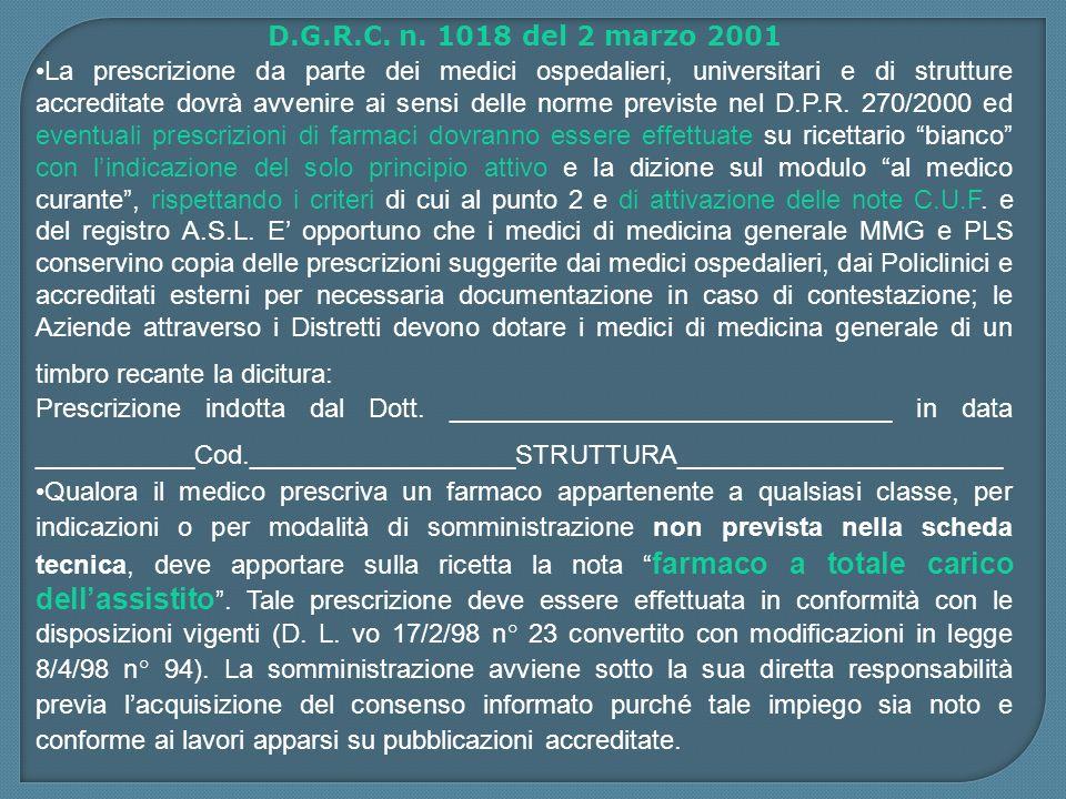 D.G.R.C. n. 1018 del 2 marzo 2001