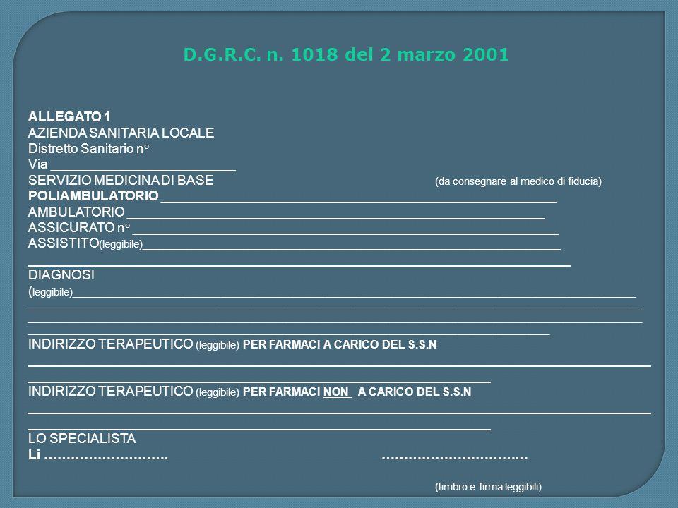 D.G.R.C. n. 1018 del 2 marzo 2001 ALLEGATO 1 AZIENDA SANITARIA LOCALE
