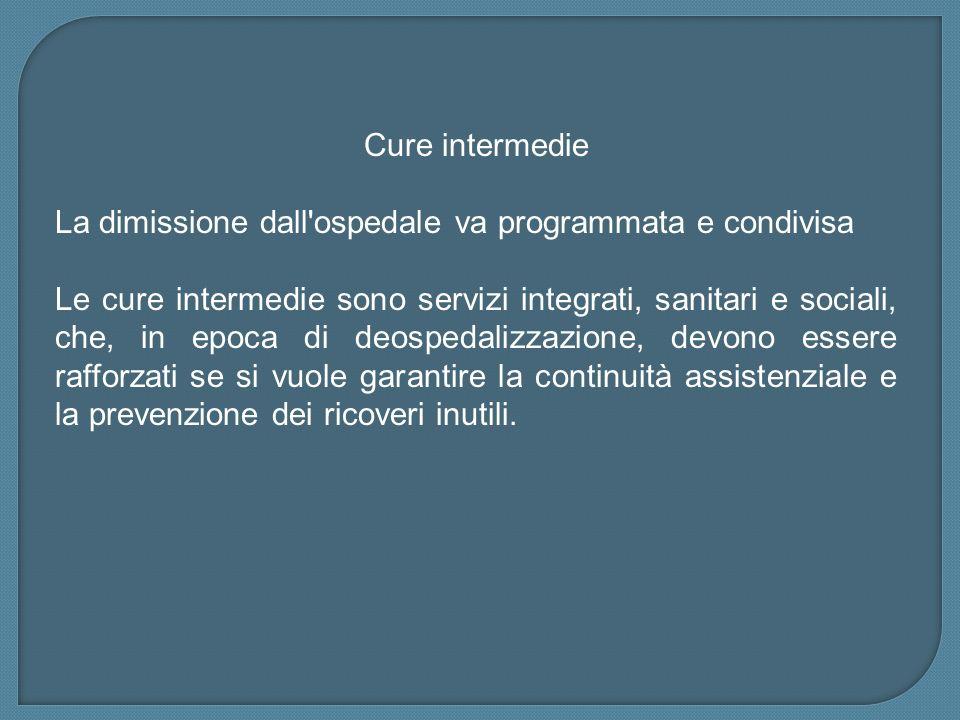 Cure intermedieLa dimissione dall ospedale va programmata e condivisa.
