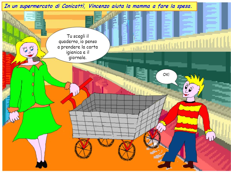 In un supermercato di Canicattì, Vincenzo aiuta la mamma a fare la spesa.