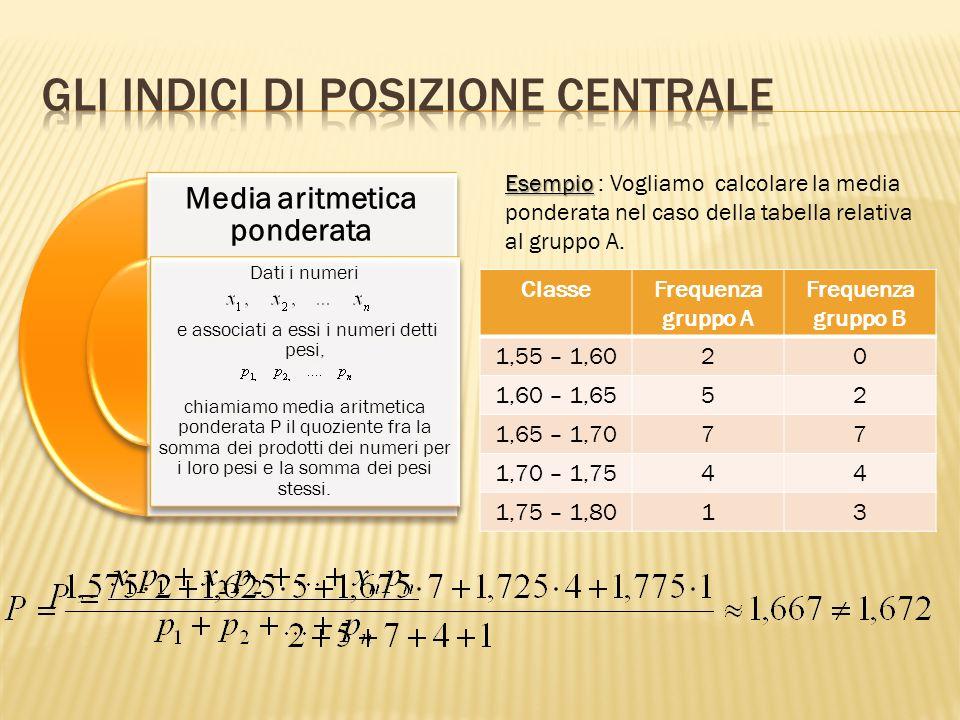 Gli indici di posizione centrale