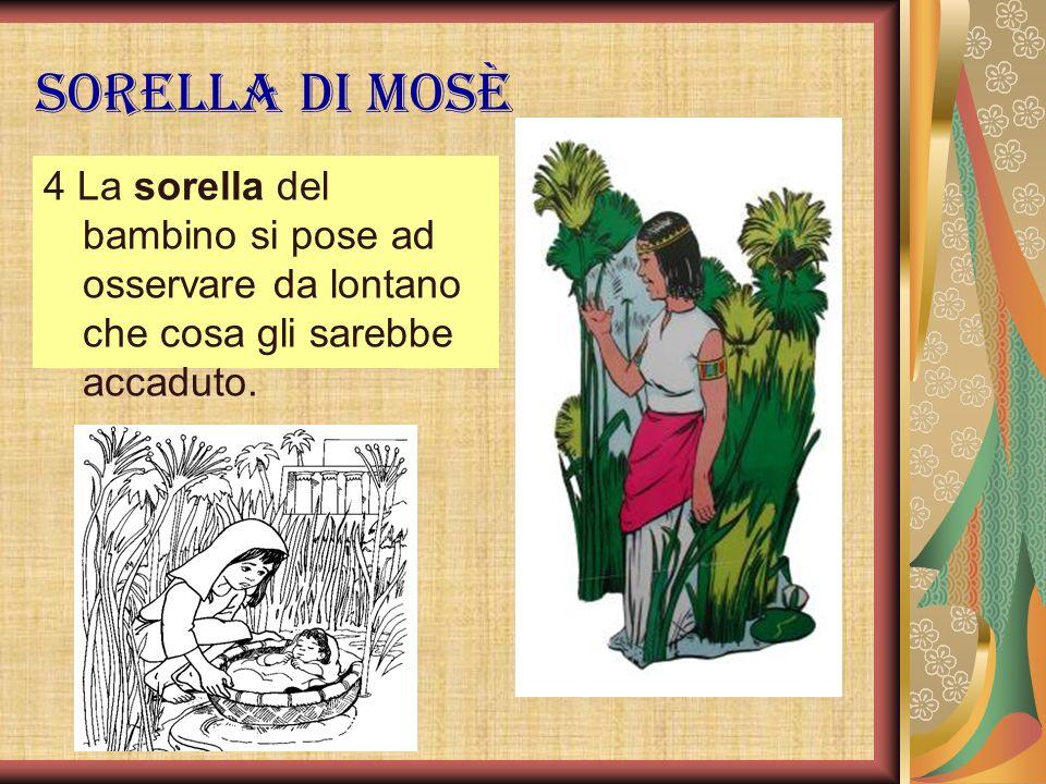 Sorella di Mosè 4 La sorella del bambino si pose ad osservare da lontano che cosa gli sarebbe accaduto.