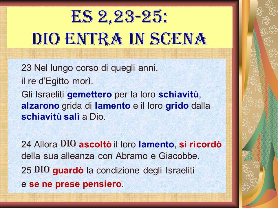 Es 2,23-25: Dio entra in scena 23 Nel lungo corso di quegli anni,
