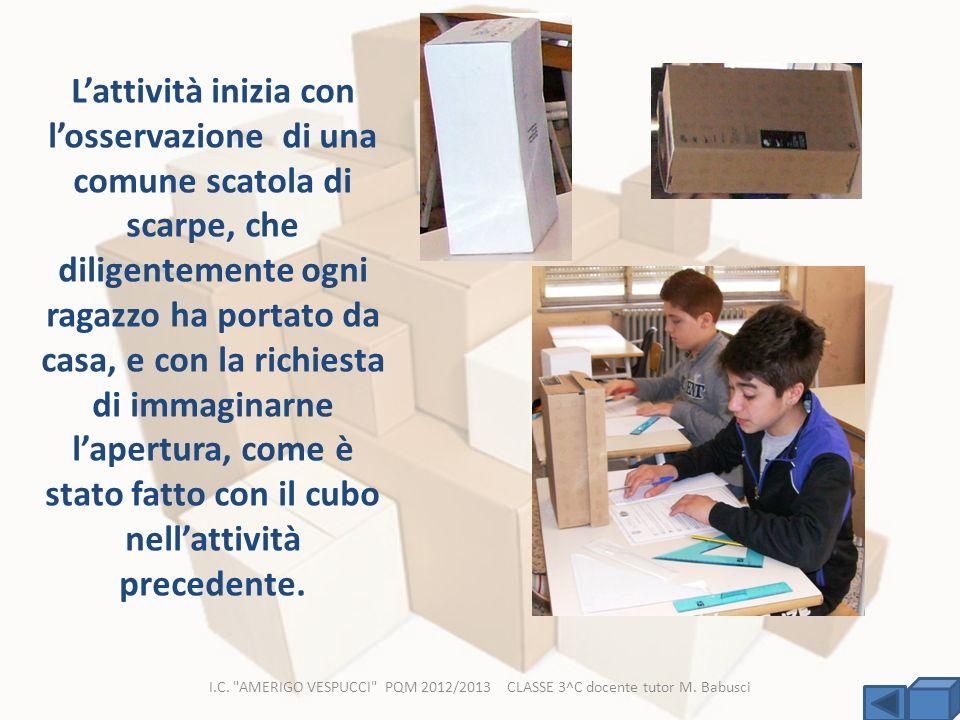 L'attività inizia con l'osservazione di una comune scatola di scarpe, che diligentemente ogni ragazzo ha portato da casa, e con la richiesta di immaginarne l'apertura, come è stato fatto con il cubo nell'attività precedente.
