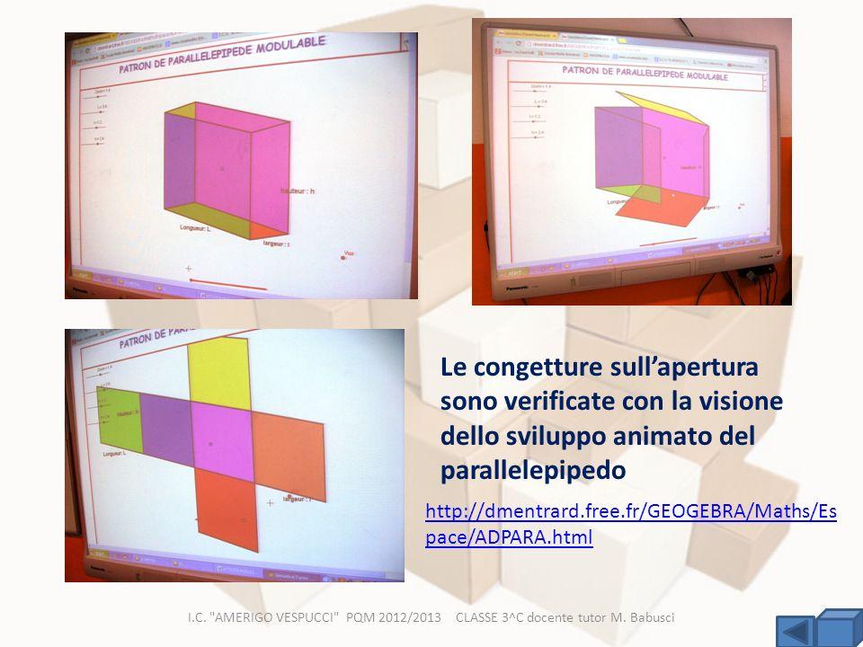 Le congetture sull'apertura sono verificate con la visione dello sviluppo animato del parallelepipedo