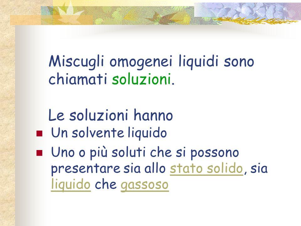 Miscugli omogenei liquidi sono chiamati soluzioni. Le soluzioni hanno