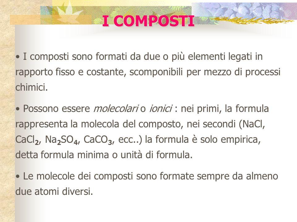 I COMPOSTI I composti sono formati da due o più elementi legati in rapporto fisso e costante, scomponibili per mezzo di processi chimici.