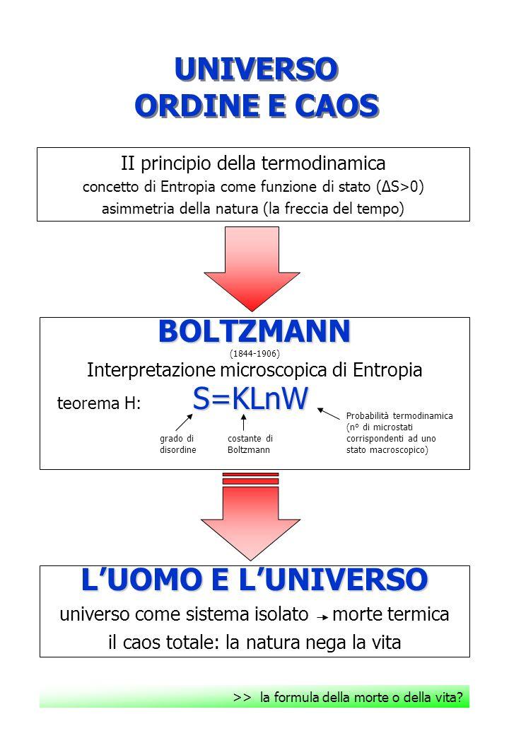 UNIVERSO ORDINE E CAOS BOLTZMANN L'UOMO E L'UNIVERSO