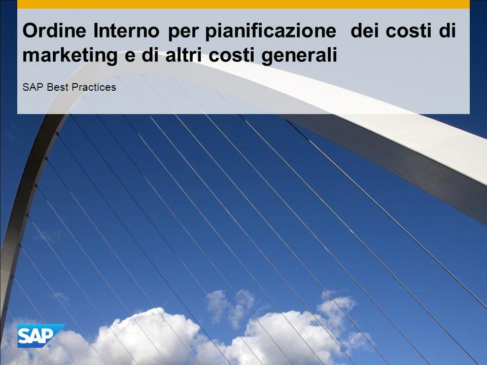 Ordine Interno per pianificazione dei costi di marketing e di altri costi generali