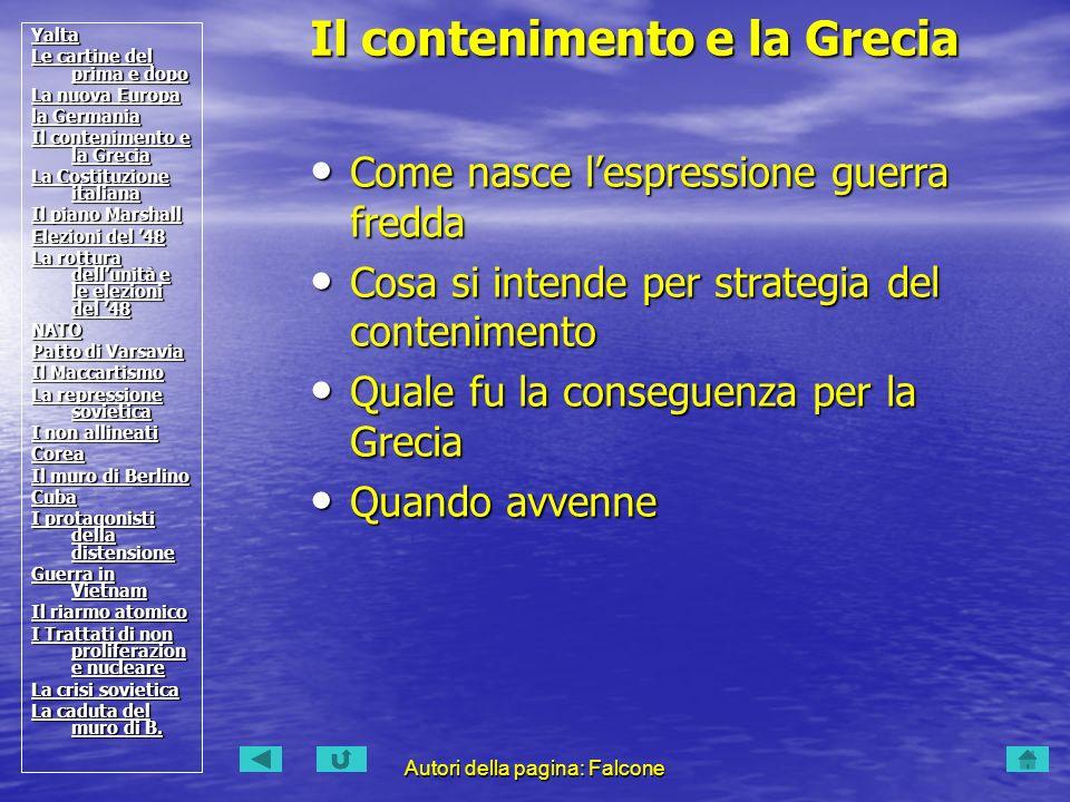 Il contenimento e la Grecia