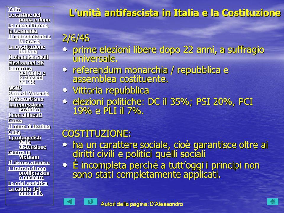 L'unità antifascista in Italia e la Costituzione
