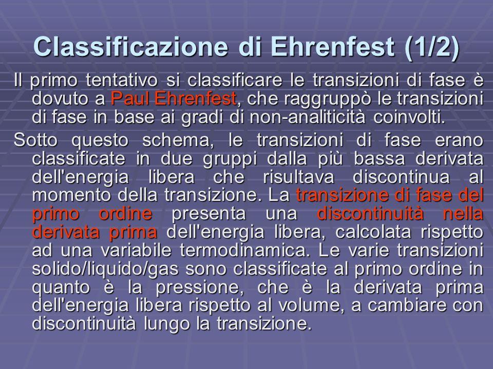 Classificazione di Ehrenfest (1/2)