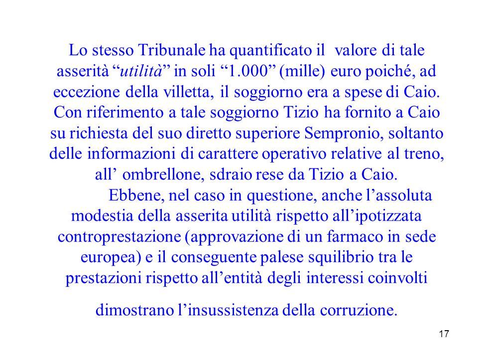 Lo stesso Tribunale ha quantificato il valore di tale asserità utilità in soli 1.000 (mille) euro poiché, ad eccezione della villetta, il soggiorno era a spese di Caio.