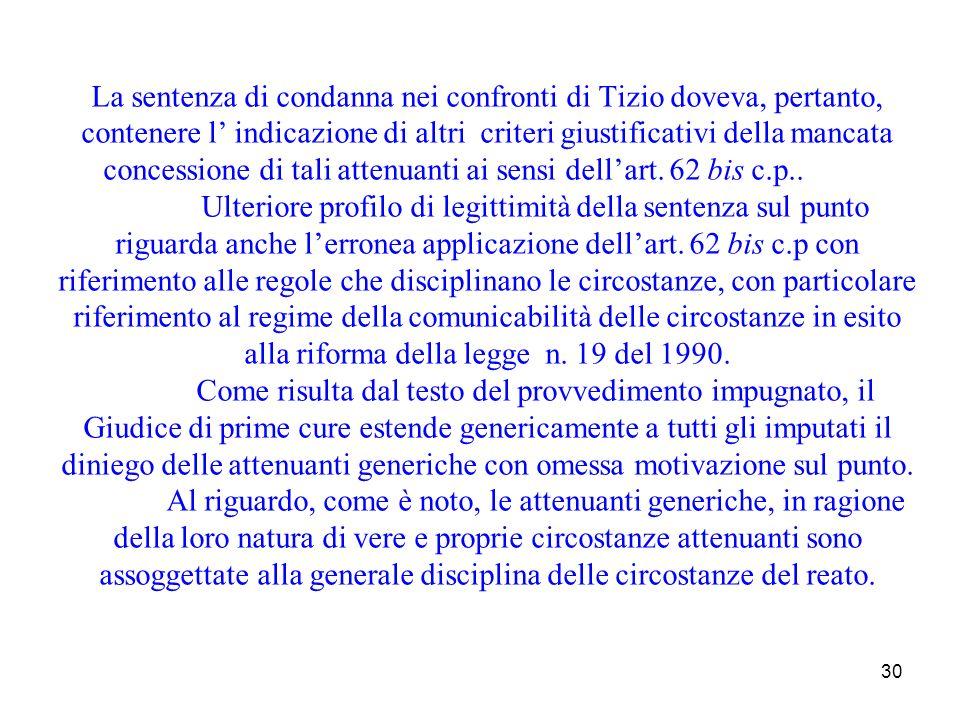 La sentenza di condanna nei confronti di Tizio doveva, pertanto, contenere l' indicazione di altri criteri giustificativi della mancata concessione di tali attenuanti ai sensi dell'art.