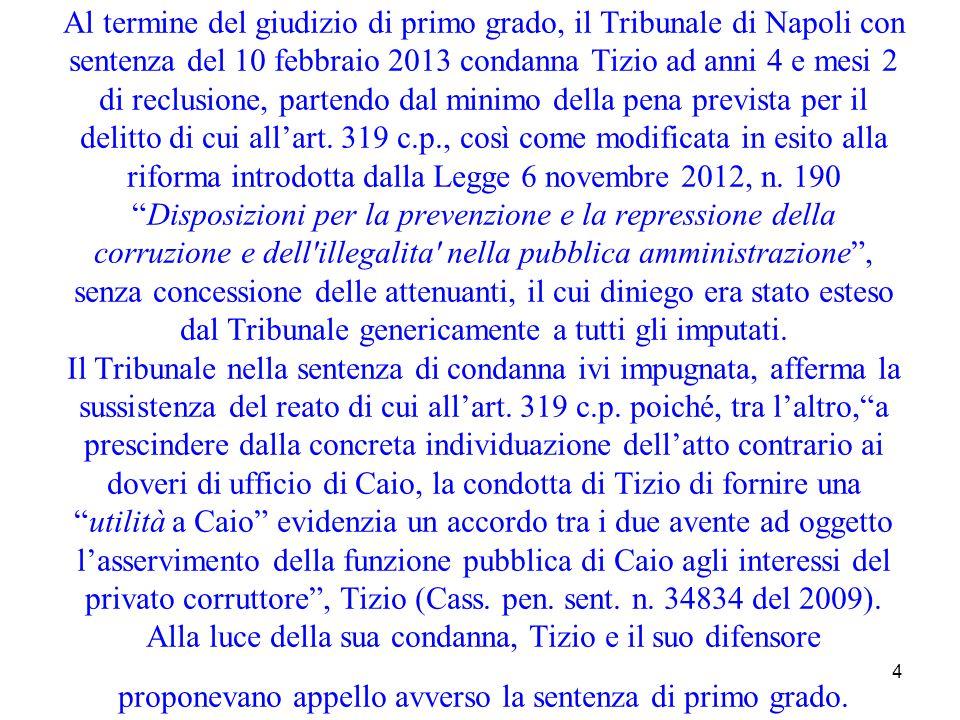 Al termine del giudizio di primo grado, il Tribunale di Napoli con sentenza del 10 febbraio 2013 condanna Tizio ad anni 4 e mesi 2 di reclusione, partendo dal minimo della pena prevista per il delitto di cui all'art.