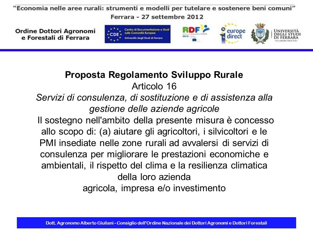Proposta Regolamento Sviluppo Rurale