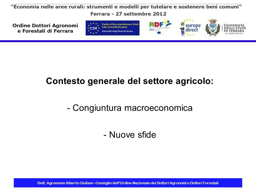 Contesto generale del settore agricolo: