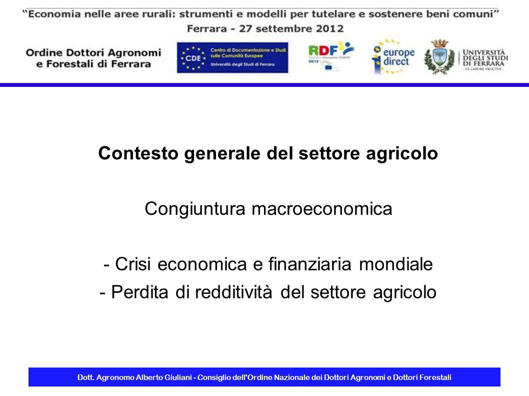 Contesto generale del settore agricolo