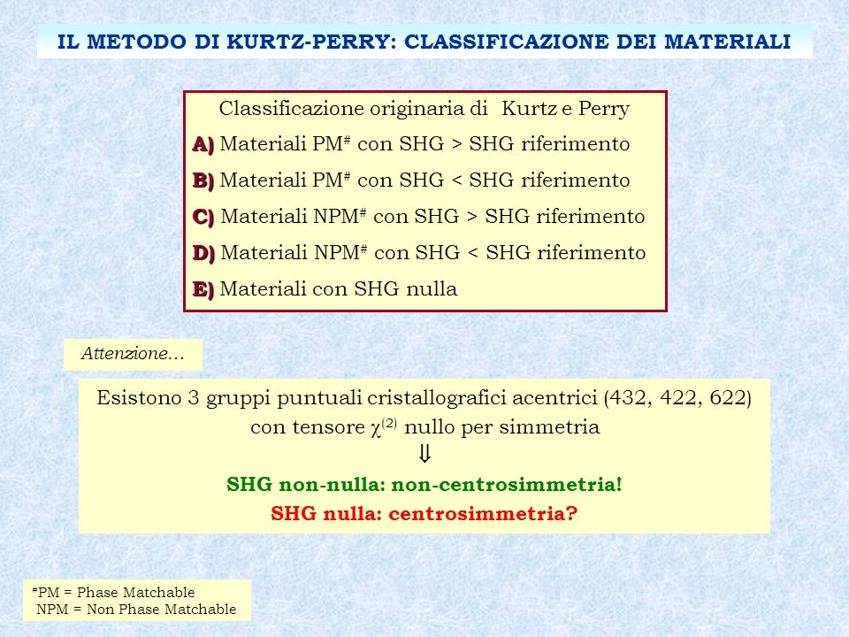 IL METODO DI KURTZ-PERRY: CLASSIFICAZIONE DEI MATERIALI