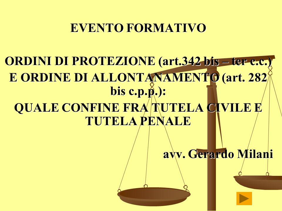 ORDINI DI PROTEZIONE (art.342 bis – ter c.c.)