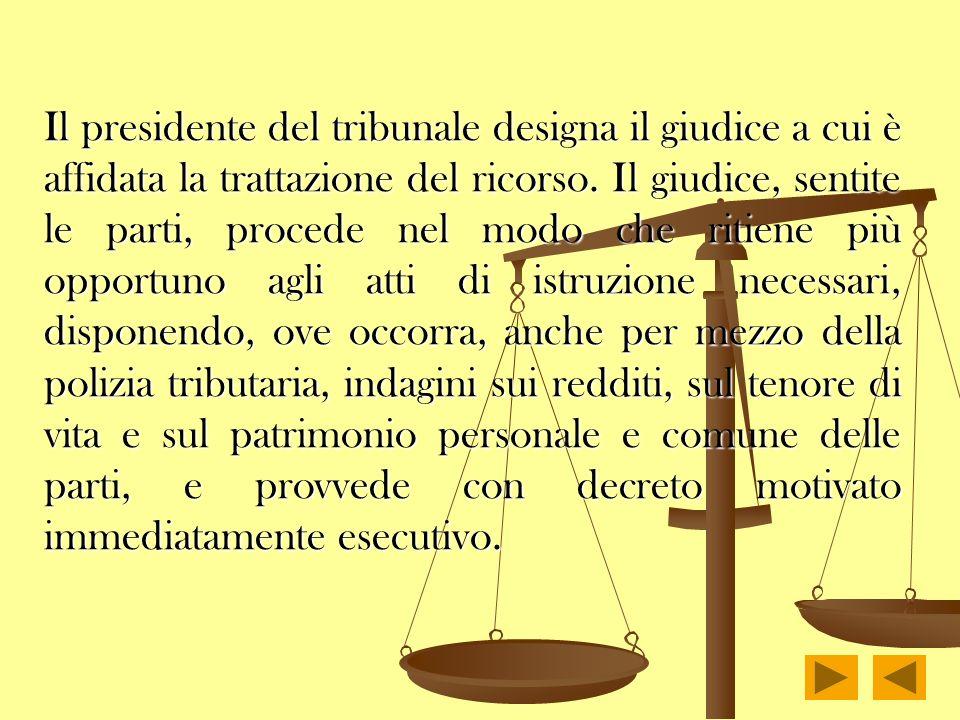 Il presidente del tribunale designa il giudice a cui è affidata la trattazione del ricorso.