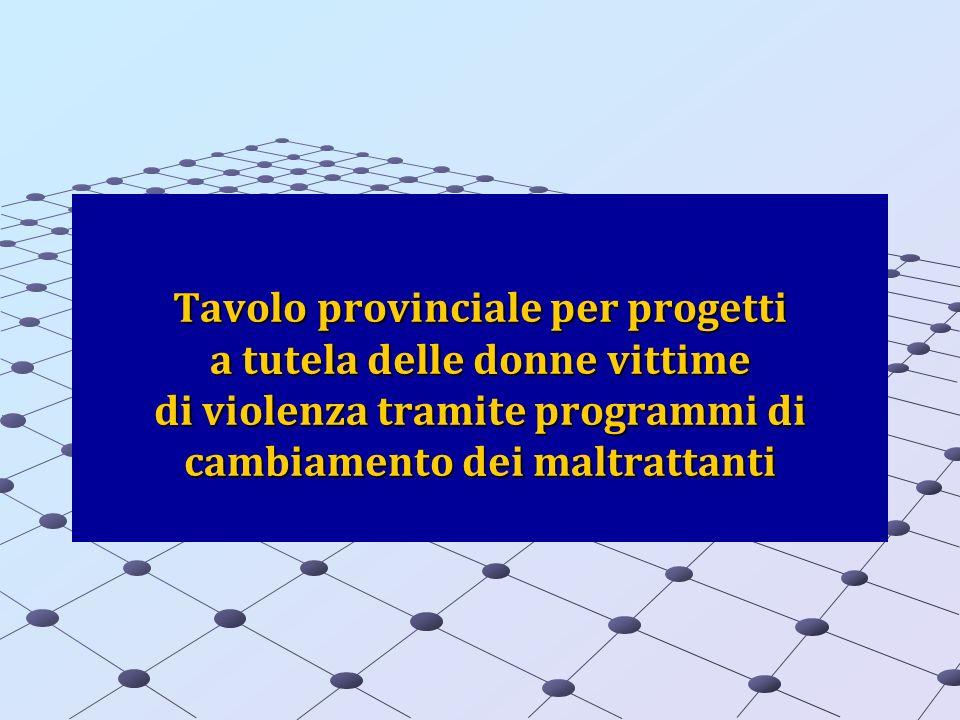 Tavolo provinciale per progetti a tutela delle donne vittime di violenza tramite programmi di cambiamento dei maltrattanti