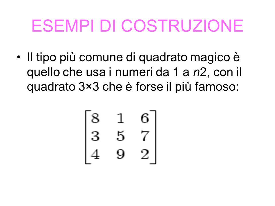 ESEMPI DI COSTRUZIONE Il tipo più comune di quadrato magico è quello che usa i numeri da 1 a n2, con il quadrato 3×3 che è forse il più famoso: